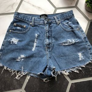 NYC high rise cut off distressed shorts